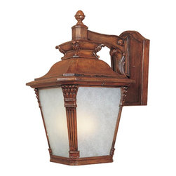"Designers Fountain - Designers Fountain Lancaster Traditional Outdoor Wall Sconce X-WVA-13702 - The classic lantern style of Lancaster is embellished with cast arms, generous appointments and features a ""base and column"" motif on corners to make a grand statement. Finished in ""Aged Venetian Walnut"" with ""Tuscan Beige"" glass."