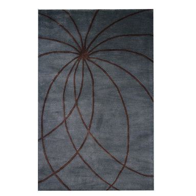Individual - Awesome 5' x 8' Abstract/Modern Area Rug - This rug is made of best Marinos wool quality from New Zealand. You might see some other tufted rug at cheaper prices, but they are not in wool quality and because they are made of chemical some are flammable and very dangerous. We have listed many of these type of rug, just check our other auctions to see more. The background color is light blue. Good luck.
