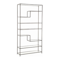 Arteriors Home - Arteriors Home Worchester Natural Iron/Glass Bookshelf - Arteriors Home 6818 - This display case is like your best dress — backless, strapless and jaw dropping. The glass shelves seem to float in space only contained by a textured, asymmetrical iron frame. Display your finest collectibles or use it as a stunning room divider.