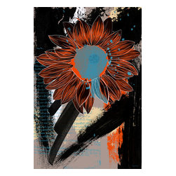"Maxwell Dickson - Maxwell Dickson ""Sunflower"" Wall Art Canvas Print Floral Pop Art Modern - We use museum grade archival canvas and ink that is resistant to fading and scratches. All artwork is designed and manufactured at our studio in Downtown, Los Angeles and comes stretched on 1.5 inch stretcher bars. Archival quality canvas print will last over 150 years without fading. Canvas reproduction comes in different sizes. Gallery-wrapped style: the entire print is wrapped around 1.5 inch thick wooden frame. We use the highest quality pine wood available."