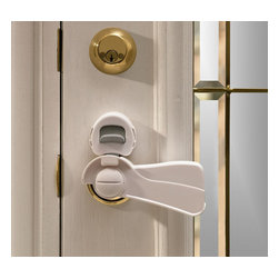 """KidCo - KidCo Door Lever Lock - Levered handles are easy for little hands to open and traditional children?s deterrents don?t work well with handles that can be pressed down to open. The KidCo Door Lever Lock allows grown-ups to easily open the door, while keeping their kids out of spaces that aren?t kid friendly. The Door Lever Lock is simple to install and requires no additional tools to be kid-ready. Best of all, the lock resets for extra convenience after use. It does not impede the use of lever handle on the opposite side of door. This device works with standard residential handles up to 5"""" long and 1 1/2"""" wide and comes in your choice of clear or white hues."""