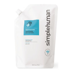 simplehuman - Fragrance Free Liquid Hand Soap Refill Pouch, 34 Fl. Oz. - Dump the disposable pumps filled with bubblegum-scented liquid. Let this hand soap wash you clean of your impulse-buying sins. It's clear, fragrance free, economical and ecofriendly.