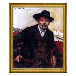"""Lovis Corinth-16""""x20"""" Framed Canvas - 16"""" x 20"""" Lovis Corinth Self Portrait in a Black Hat framed premium canvas print reproduced to meet museum quality standards. Our museum quality canvas prints are produced using high-precision print technology for a more accurate reproduction printed on high quality canvas with fade-resistant, archival inks. Our progressive business model allows us to offer works of art to you at the best wholesale pricing, significantly less than art gallery prices, affordable to all. This artwork is hand stretched onto wooden stretcher bars, then mounted into our 3"""" wide gold finish frame with black panel by one of our expert framers. Our framed canvas print comes with hardware, ready to hang on your wall.  We present a comprehensive collection of exceptional canvas art reproductions by Lovis Corinth."""
