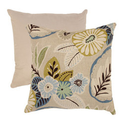 Pillow Perfect - Beige and Blue Tropical 18-Inch Throw Pillow - - Cotton Texture  - 100% Virgin Recycled Polyester Fill  - Sewn Seam Closure  - Spot Clean Only  - Made In USA  -Please note that image shows front and back of pillow. Only one pillow is being sold. Pillow Perfect - 475202