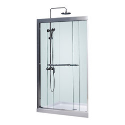 """BathAuthority LLC dba Dreamline - Duet Frameless Bypass Sliding Shower Door, 44 - 48"""" W x 72"""" H, Chrome - The Duet shower door combines high quality materials with a sleek frameless design for an amazing value. The bypass shower doors slide effortlessly on perfectly engineered guide rails allowing entry into the shower from either side. For an easy installation the shower door offers a total of 1 in. in out-of-plumb adjustments, while the top and bottom guide rails may be trimmed down up to 4 in. in width."""