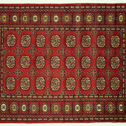 Manhattan Rugs - Beautiful Oriental Carmine Red 4'x6' Gul Bokhara Hand Knotted Wool Area Rug H664 - Bokharas are a type of handmade Pakistani rug; also known as Bukharas or Bokaras, they predate the rug renaissance. A typical Pakistani Bhokara, although red is a more common color.Though Pakistani Bokharas are scorned by collectors, they have turned out to be honest rugs. Most are based on Turkmen prototypes called Tekkes, with repeating octagonal figures called guls, usually on fields of burgundy red, gray blue, or sometimes green.