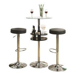 Coaster - Coaster 3 Piece Pub Set in Black - Coaster - Pub Sets - 1207151025583PKG