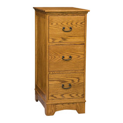 Chelsea Home Furniture - Chelsea Home Cumberland 3 Drawer File Cabinet in Red Oak - Carefully constructed in Red Oak with Nutmeg Finish, this handmade Cumberland File Cabinet makes a great addition to your flat top desk. Utilizing the same intrinsic elegance of the natural wood grain, this 3-drawer file cabinet is one-of-a-kind with full extension drawers and sturdy 4-legged base.