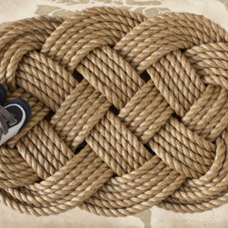 Nautical Braided Rope Welcome Mat, Large by The Landlocked Sailor - A nautical rug will welcome guests into your relaxing summer home.