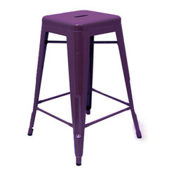 """sugarSCOUT - Custom Painted Tolix Style 24"""" & 30"""" Counter or Bar Stools, Purple, 24"""" - Go bright....go colorful."""