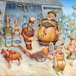 L. Lee Junge - Prosit!, 8.5 X 15 - In this festive and traditional scenario, Junge celebrates Oktoberfest by bringing German beers to life within a sunny forested landscape. Music plays as figures dressed in classic lederhosen and drindle raise their frothy mugs to the world's most infamous funfair.  This work is part of Junge's Night Life series in which Junge explores the lively scenario of bar spirits coming to life in a series of fifteen striking and titillating paintings. These works unlock the door to a world of spectacle, imagination, and complex perception.