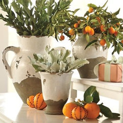 """Tuscan Urns & Cachepot - These planters bring a taste of Italy to your deck. Plant rosemary to cascade out of one and seasonal flowers in the others. A great focal point for a patio, deck or porch.Hand thrown terracotta; 9.25"""" wide (including handles), 8.75"""" high Medium Double Handled Urn: 15"""" wide (including handles), 15"""" high Cachepot: 6.5"""" diameter, 7.75"""" high"""