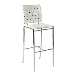 Euro Style - Woven Bar Stools in White Leather and Chrome - Set of 2. Chromed steel frame. Woven leather chair back. Smooth leather seat. Pictured in White Leather and Chrome. Some assembly required. Assembly Instructions