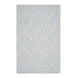 Safavieh - Fabiola Hand Tufted Rug, Light Blue / Ivory 4' X 6' - Construction Method: Hand Tufted. Country of Origin: India. Care Instructions: Vacuum Regularly To Prevent Dust And Crumbs From Settling Into The Roots Of The Fibers. Avoid Direct And Continuous Exposure To Sunlight. Use Rug Protectors Under The Legs Of Heavy Furniture To Avoid Flattening Piles. Do Not Pull Loose Ends; Clip Them With Scissors To Remove. Turn Carpet Occasionally To Equalize Wear. Remove Spills Immediately. Bring classic style to your bedroom, living room, or home office with a richly-dimensional Safavieh Cambridge Rug. Artfully hand-tufted, these plush wool area rugs are crafted with plush and loop textures to highlight timeless motifs updated for today's homes in fashion colors.
