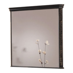 Macral - London Wall-Framed Mirror, Black-Golden Patina - Add stately elegance to your bathroom with this solid wood framed mirror. The Black-Golden patina finish makes the geometric engravings on the frame really shine. This crystal mirror is simply unforgettable.