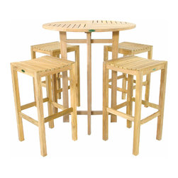 Westminster Teak Furniture - Somerset Teak Bar Stool and Bar Table Set - 5pc Teak Backless Bar stool and Pub Table set is constructed of Grade A, Eco-Friendly Teak Wood.  Lifetime Warranty.  Free Return Shipping if you are not satisfied with your purchase.