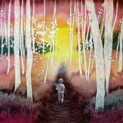 "The Path (Original) by Leah Jay - This is a one of a kind original pastel-over-watercolor painting, commissioned for a book of poetry ""The Esteban Garden Book"" by Annette B. Johnson, and was published in 2012."