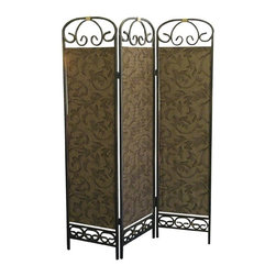 Ore International - Antique Gold 3-Panel Room Divider - R850 - Shop for Room Dividers from Hayneedle.com! The Antique Gold 3-Panel Room Divider creates privacy adds texture or defines a space in your home. This room divider features a metal frame with powder-coated antique gold finish. The three panels have a leaf and vine pattern and the whole thing folds flat for easy storage. About Ore International Inc.Ore International Inc. creates beautiful accent furniture lighting and gifts for the home. Their goal is to be the leading provider of innovative superior home products worldwide. Ore International is based in Santa Fe Springs California and has a Customer First attitude. Their products are designed to match modern and classic tastes and fit today's homes. From room dividers to lamps end tables to entertainment centers you'll discover quality craftsmanship at a fair price in all Ore International products.