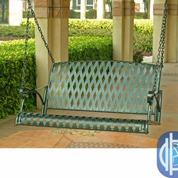International Caravan - International Caravan Diamond Lattice Porch Swing - This lattice porch swing will add more seating and fun to your patio. This classic, diamond-pattern swing is made from iron. Its natural color will fit right in with your outdoor decor. This swing will have you enjoying the outdoors a lot more.