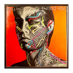 """Glittered Rolling Stones Tattoo You Album - Mick - Glittered record album. Album is framed in a black 12x12"""" square frame with front and back cover and clips holding the record in place on the back. Album covers are original vintage covers."""
