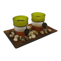 n/a - 3 Piece Glass Votive and Tealite Candle Garden - This beautiful 3 piece candle garden is a perfect accent to living rooms, dens, bedrooms and foyers. It features 2 small glass votive candle holders, and a glass diffuser base, as well as a small bag of river rocks for accent. All you need is some votive or tea light candles (battery powered tea lights work great), and you`ve got a beautiful table or mantel centerpiece. This candle garden makes a great gift for friends or family.