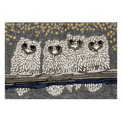 "Trans-Ocean Inc - Owls Night 24"" x 36"" Indoor/Outdoor Rug - Richly blended colors add vitality and sophistication to playful novelty designs. Lightweight loosely tufted Indoor Outdoor rugs made of synthetic materials in China and UV stabilized to resist fading. These whimsical rugs are sure to liven up any indoor or outdoor space, and their easy care and durability make them ideal for kitchens, bathrooms, and porches; Primary color: Grey;"