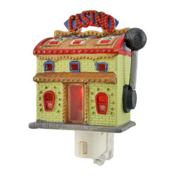 Casino Slot Machine Night Light - The Casino Night Light is a fun and fresh way to light up dark hallways in your home. It measures 3 inches long, 2 inches wide, and 4 1/2 inches tall and is cleverly presented as a casino building that looks like a slot machine! Designed for indoor use only, light bulb included.