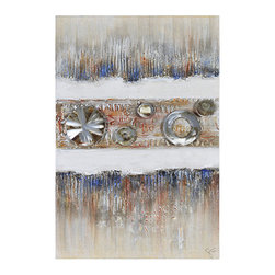 Ren-Wil - Ren-Wil OL911 Industrial Elegance II Vertical Canvas Wall Art by Giovanni Russo - Primary colors highlight the thick textures on this hand painted linen covered canvas and is highlighted with sheet metal accents, textural letters and a contrasting neutral background.