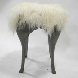 Sheepskin Stool with Legs - A sweet custom made stool with aluminum frame is just what you need to spice up your decor. Topped with a white frosted Mongolian sheepskin, this light weight stool is luxurious!