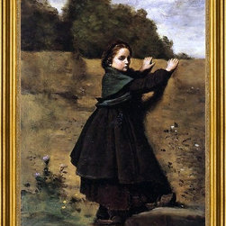 """Jean-Baptiste-Camille Corot-16""""x24"""" Framed Canvas - 16"""" x 24"""" Jean-Baptiste-Camille Corot The Curious Little Girl framed premium canvas print reproduced to meet museum quality standards. Our museum quality canvas prints are produced using high-precision print technology for a more accurate reproduction printed on high quality canvas with fade-resistant, archival inks. Our progressive business model allows us to offer works of art to you at the best wholesale pricing, significantly less than art gallery prices, affordable to all. This artwork is hand stretched onto wooden stretcher bars, then mounted into our 3"""" wide gold finish frame with black panel by one of our expert framers. Our framed canvas print comes with hardware, ready to hang on your wall.  We present a comprehensive collection of exceptional canvas art reproductions by Jean-Baptiste-Camille Corot."""