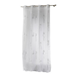 "Evideco - Printed Sheer Grommet Curtain Panels Bianca White and Silver - ""This printed sheer window curtain panel BIANCA with grommets features subtle silver floral design to provide a slight reflective flower effect. 100% polyester, sold individually, 55""""W x 95''L, this flower printed white voile panel works well alone or laye"""