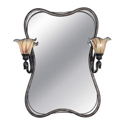 Kenroy - Kenroy 90890TS Inverness 2 Lt. Vanity Mirror - You won't be able to take your eyes off these stunning art glass shades evoking detailed handmade craftsmanship.  Paired with supple flowing ironwork in a Tuscan silver finish, the Inverness collection will be the star of your living space.