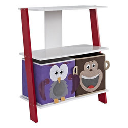 Altra Furniture - Luci Ladder Bookcase with 2 Bins in White and Red - 2 shelves hold bins, books, and office supplies. Leaning effect. Monkey and Owl Bins included. White Shelves and Red Side Panels. 24.41 in. L x 12.09 in. W x 28.82 in. H (14.48 lbs)If your kid's bedroom is starting to feel like a zoo, let this adorable bookcase help tame the clutter. It has two open shelves with monkey and owl storage bins. In white, with bright red sides.