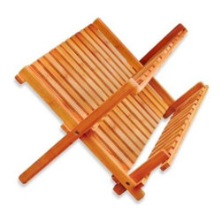 Lipper - Bamboo Folding Dish Rack - This bamboo dish rack is an attractive addition to your decor, and ideal for air drying or storing your dishes. Cups, glasses and mugs can be rested on the angled shelves, while slots allow for secure holding of many dishes.