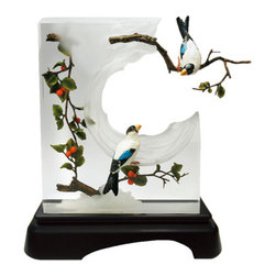 Franz Porcelain - FRANZ PORCELAIN COLLECTION Luvite Cherry & Hawfinch Lucite Sculpture FL00050 - Finished In Lead Free Glazes * Hand Painted By Franz Porcelain Artisans * FDA Approved Food/Plant Safe * New In The Original Box