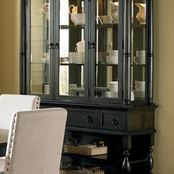None - Loraine Antiqued Charcoal Buffet and Hutch - The gorgeous Loraine buffet and hutch are the perfect accent for your dining room offering storage space and a beautiful display cabinet for your finer items. Features glass shelves with plate grooves in the back and touch lighting.
