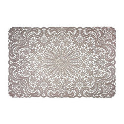 Vintage-Style Vinyl Placemats - Set of 12 - Sweet vintage style gets a practical modern update on these fantastically lacy placemats. The elegant pattern isn't as fussy as it looks—glossy vinyl wipes clean and stores easily for a carefree and gorgeous table setting.