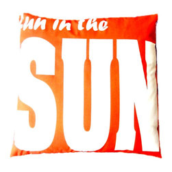 """5 Surry Lane - Indoor Outdoor Summer Fun In The Sun Orange Modern Decorative Pillow - Indoor outdoor patriotic American flag pillow.  100% soft polyester.  Withstands UV Rays.  Resistant to water, mold and mildew.  Hidden zipper closure.  Down insert included.  18x18""""."""