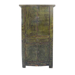 Golden Lotus - Rustic Dark Green Lacquer Wooden Cabinet - You are looking at a rustic style dark green color wooden cabinet. it is made of solid elm wood and lacquered with light dark color.