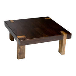 Kathy Kuo Home - Berkeley Solid Wood Chunky Contemporary Rustic Coffee Table - Constructed out of solid acacia wood, and hand finished in a deep walnut finish, this contemporary rustic inspired cocktail table blends just enough rustic qualities with a modern twist.