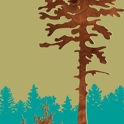 jefdesigns - 'Douglas Fir — Angels Rest', Oregon Print - Now you can really see the forest through the tree. This original work of art is actually a hand drawing that's been digitally enhanced with wood grain. It's clean, modernistic approach is perfectly suited to your contemporary interiors.