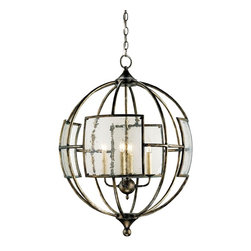 Currey and Company - Broxton Orb Chandelier - A delightful 4 light lantern comes with seeded glass panels that give it a special appeal. The wrought iron framework is finished in pyrite bronze. The hand finishing process used on this chandelier lends an air of depth and richness not achieved by less time-consuming methods.