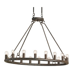 Kathy Kuo Home - Wilford Antique Old Bronze Oval 16 Light Chandelier - When you have the beauty of 16 lights to enjoy, a minimalist metal presentation lets simplicity shine through. Suspended from a simple black wrought iron fixture, the classic wheel chandelier effect gets a spare, masculine update.