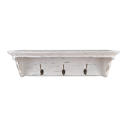 "Enchante Accessories Inc - Distressed Rustic Solid Wood Vintage Wall Shelf with Hooks (Shabby White) - An attractive and functional wall-mounted distressed Shabby Chic shelf for the home. Great for adding a touch of elegance for the home entry. These shelves are built out of pine in an antique, distressed fashion. This means that they have knots, imperfections, nail holes of the wood left in them so that they have an old appearance, even with the plain color of paint. Great for that ""worn"" look.. No assembly required. Mounting hardware included."