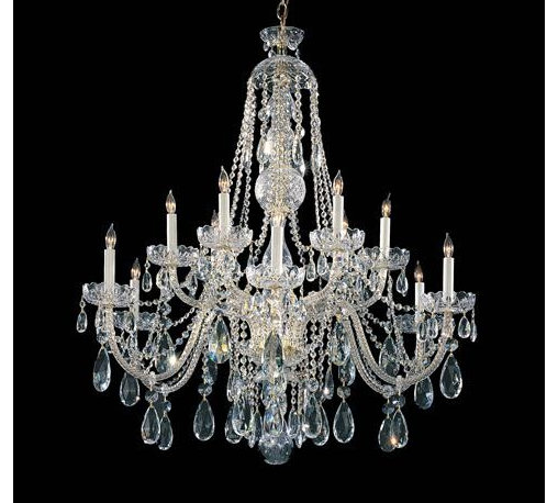 Crystorama 1112-PB-CL-MWP Hand Cut Crystal Chandelier Traditional Crystal Collec -
