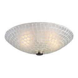 ELK Lighting - Two Light Satin Nickel White Mosaic Glass Bowl Flush Mount - Two Light Satin Nickel White Mosaic Glass Bowl Flush Mount
