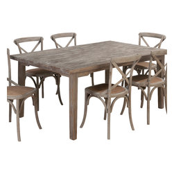 Jofran - Jofran Burnt Grey Rectangle Leg Dining Table with Fixed Top in Solid Oak - Belongs to Burnt Grey collection by Jofran . Solid oak.