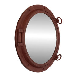 "Handcrafted Model Ships - Rusted Iron Porthole Mirror 20"" - Port Hole Decor - This Rusted Iron Porthole Mirror 20"" adds sophistication, style, and charm for those looking to enhance rooms with a nautical theme. This boat porthole has a sturdy, heavy and authentic appearance, yet it is made of wood and fiberglass to lower the weight for use as nautical wall decor. This porthole mirror makes a fabulous style statement in any room with its classic round frame, eight solid rivets and two dog ears surround the perimeter of the porthole frame."