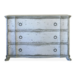 Eloquence - Bordeaux French Country Heavy Distress White Wash Dresser Commode - L - This classic three-drawer commode is absolute perfection. Vintage-inspired, whitewashed with hints of silver, and reminiscent of French country design, this sturdy piece will be one you cherish for years to come.