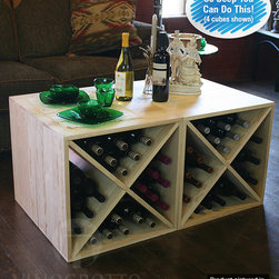 "Wine Rack 96 Bottle Pine Cube Set (4 Cubes) - Four 12"" deep (full bottle depth) pine wine bottle cubes arranged back to back for table top."